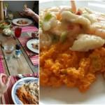 Zoete aardappel stamppot met vis en kokossaus
