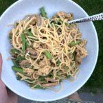 €3,- food challenge: noodles met boontjes en gemarineerde champignons!