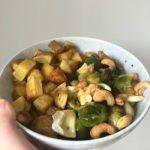 €3,- food challenge: aardappeltjes met gemarineerde spruitjes en gebakken brie!