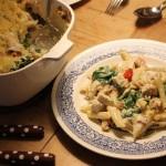 Pastaschotel met kip/spinazie/tomaat en 3 soorten kaas
